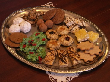 Holiday Cookies, rum balls, macaroons, lemon bars, thumbprint cookies