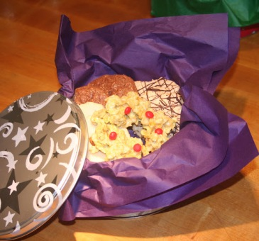 Holiday cookies, cookie tin, cornflake wreaths